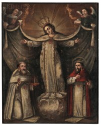 Spanish Colonial School, 18th/19th Century      Vision of the Virgin Between Two Saints