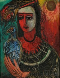 Nahum Tschacbasov (Russian/American, 1899-1984)      Lady with Pet Bird