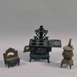 Two Miniature Stoves and a Cast Iron Matchsafe