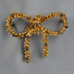 18kt Gold and Sapphire Bow Brooch, Tiffany & Co.