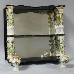 Porcelain and Wood Two-tier Mirrored Wall Shelf