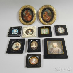 Ten Framed European Miniature Portraits