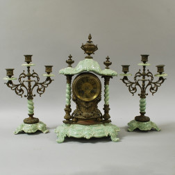 German Celadon Porcelain and Brass Garniture Set