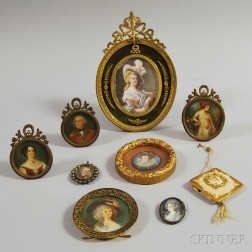 Nine Framed Miniature Portraits