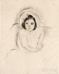 Mary Cassatt (American, 1844-1926)      Margot Wearing a Bonnet (No. 5)