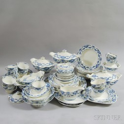 Large Group of Wedgwood Blue and White Grosvenor Ceramic Tableware