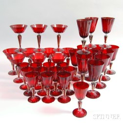 Set of Thirty-four Pieces of Venetian Ruby Blown Glass Stemware