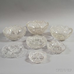 Seven Colorless Cut Glass Bowls