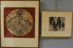 Two Works:      American School, 20th Century, Composition in Gray and Brown with Abstract Figures