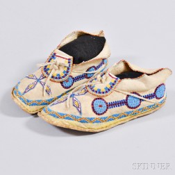 Apache Beaded Hide Youth's Moccasins