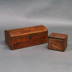 Grain-painted Dome-top Trunk and Pine Document Box