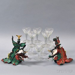 Set of Twelve Jensen Cocktail Glasses and a Pair of Venetian Porcelain Knights