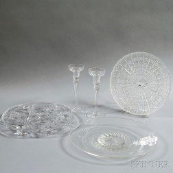 Three Colorless Glass Dishes and a Pair of Candlesticks
