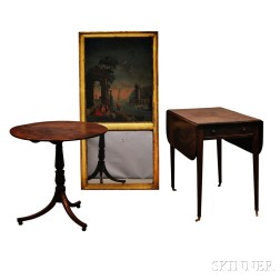 Two George III Tables and a Trumeau Mirror