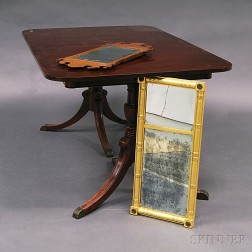 Regency-style Mahogany Double-pedestal Dining Table and Two Mirrors