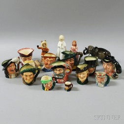 Sixteen Mostly Royal Doulton Character Jugs and Figures