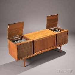 Motorola/Drexel Walnut Veneer Stereo and Phonograph Cabinet