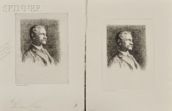 Frank Weston Benson (American, 1862-1951)      Two Impressions of Dr. Arthur T. Cabot