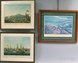 Two Framed French Hand-colored Lithographs of Shipping Scenes