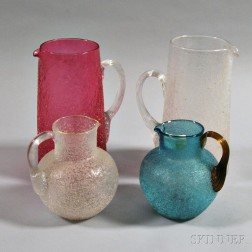 Four Overshot Glass Pitchers