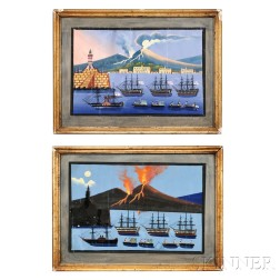 American/Italian School, 19th Century      Two Views of the Eruption of Mount Vesuvius from the Port of Naples.