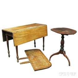 Federal Cherry Candlestand and a Maple Drop-leaf Table
