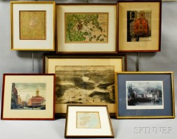 Three Framed Maps and Four Prints of Boston