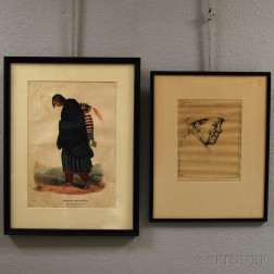 """Framed Lithograph """"Chippeway"""" Squaw and Child"""