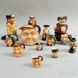Thirteen Royal Doulton Character Jugs