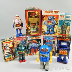Eight Vintage and Modern Robot Toys in Original Boxes