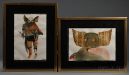 Two Contemporary Kachina Paintings by Leonard Baskin