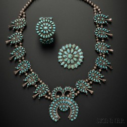 Three Southwest Silver and Turquoise Jewelry Items
