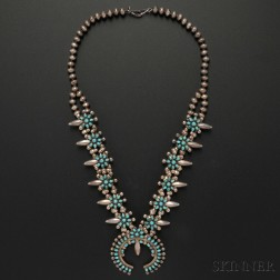 Zuni Silver and Turquoise Squash Blossom Necklace