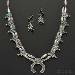 Zuni Silver and Turquoise Squash Blossom Necklace with Matching Earrings