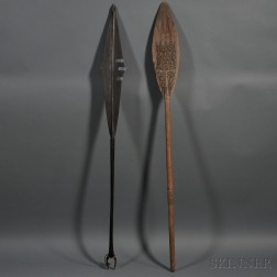 Two Oceanic Carved Wood Paddles