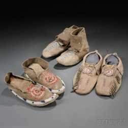 Three Pairs of Plains Moccasins