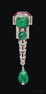 Sold for: $385,500 - Fine Art Deco Carved Emerald, Ruby, and Diamond Pendant Brooch, Chaumet