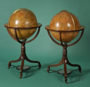 Sold for: $77,025 - A Pair of 20-inch Library Globes in Hepplewhite Stands by J. & W. Cary