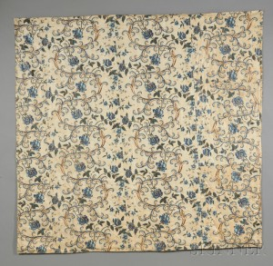 Glazed Floral-printed Cotton Chintz Bedcover