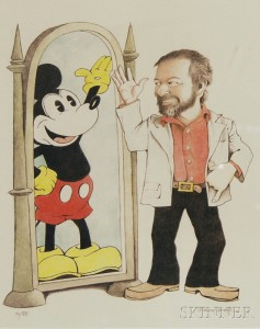Maurice Sendak (American, 1928-2012)      Self-Portrait with Mickey Mouse