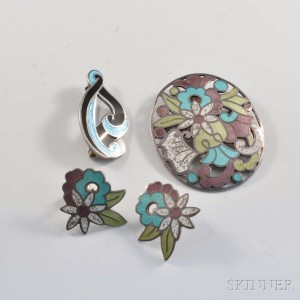 Margot de Taxco Sterling Silver and Enamel Two Brooches and Pair of Earrings