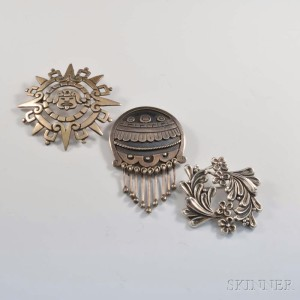 Three Mexican Designer Sterling Silver Brooches