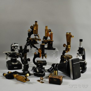 Seven 19th and 20th Century Microscopes