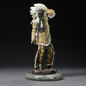 Modern Cold-painted Bronze Native American Indian Chief