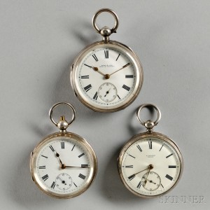 Three Silver English Key-wind Lever Watches