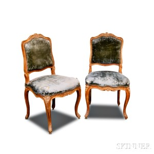 Pair of Louis XV Carved Beechwood Upholstered Side Chairs