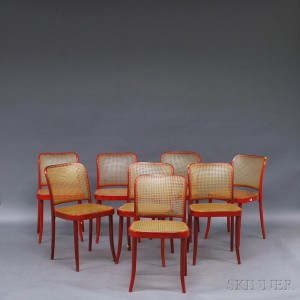 Eight Red Painted Stendig Bentwood Chairs