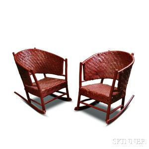 Pair of Adirondack-style Red-painted Wicker Rocking Chairs