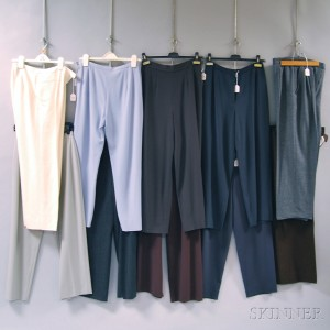 Ten Pairs of Armani, Chanel, Courreges, and Valentino Wool and Wool-blend Lady's   Pants