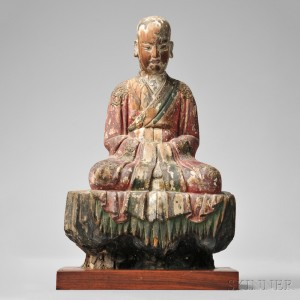Polychrome Wood Figure of a Luohan